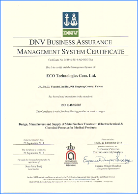 ISO 13485/9001 Certificate